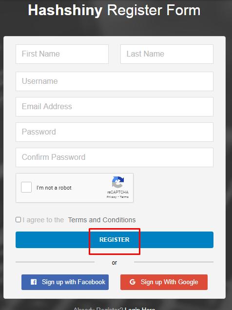hashshiny registration