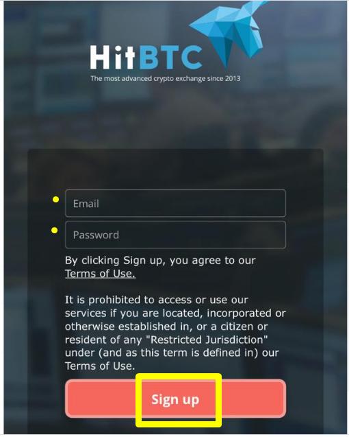 hitbtc sign up