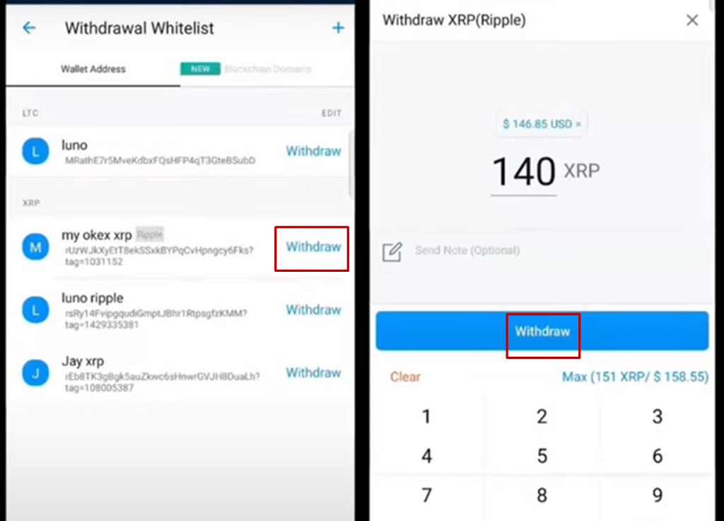 withdraw XRP crypto.com